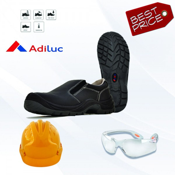 Paket Adiluc - Hera Safety Shoes + Helmet ABS +  Safety Glass Clear/Dark Lens