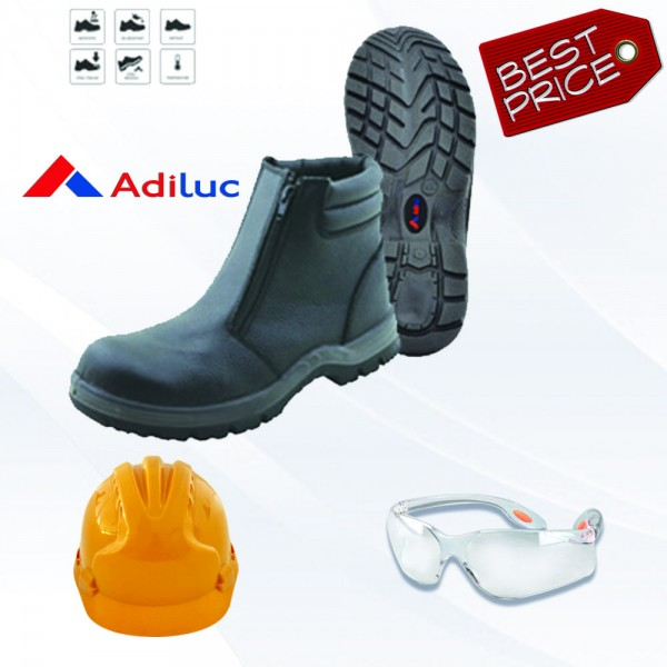 Paket Adiluc - ARES Safety Shoes + Helmet ABS +  Safety Glass Clear/Dark Lens