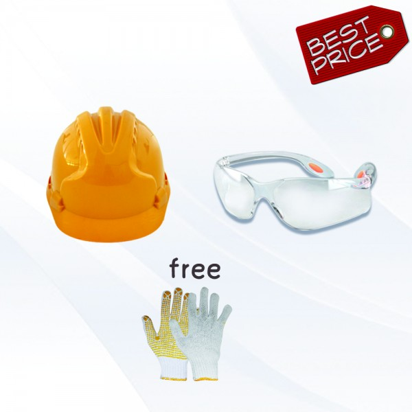 Paket Adiluc - Buy 5 set Helmet ABS +  Safety Glass Clear/Dark Lens Free 1 Lusin Yellow Dotting Gloves