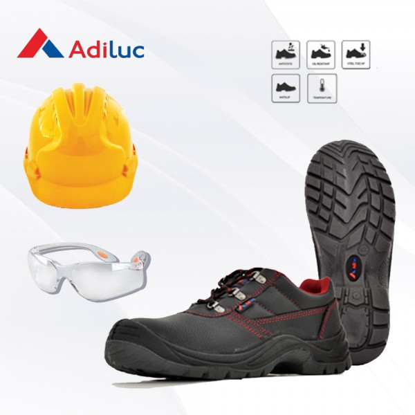 Paket Adiluc - Hydra Safety Shoes + Helmet ABS +  Safety Glass Clear/Dark Lens