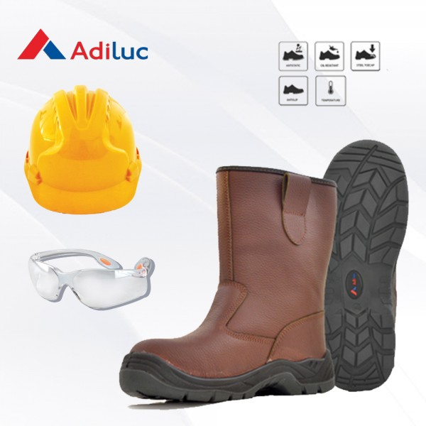 Paket Adiluc - Athena Safety Shoes + Helmet ABS +  Safety Glass Clear/Dark Lens