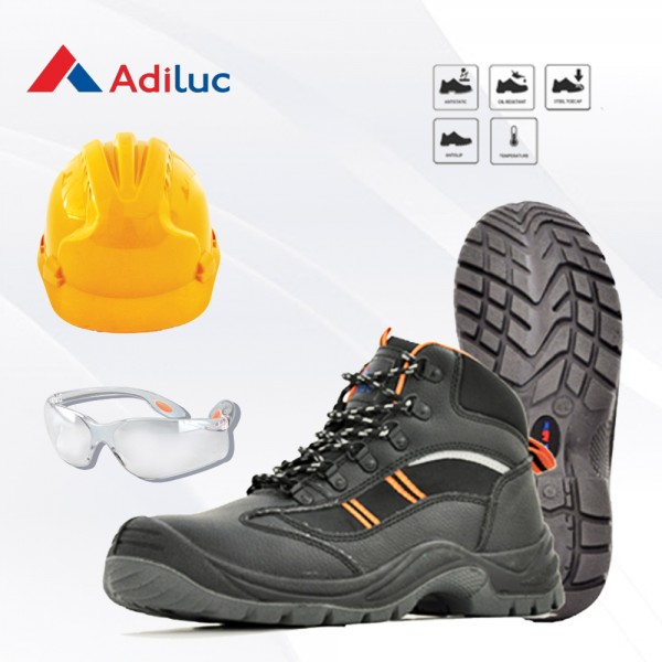 Paket Adiluc - Olympus Safety Shoes + Helmet ABS +  Safety Glass Clear/Dark Lens