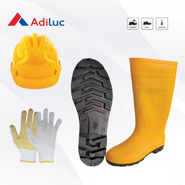 Paket Adiluc - Sungkai Boot Safety Shoes + Helmet ABS + 1Lusin Working Gloves Yellow Dotting
