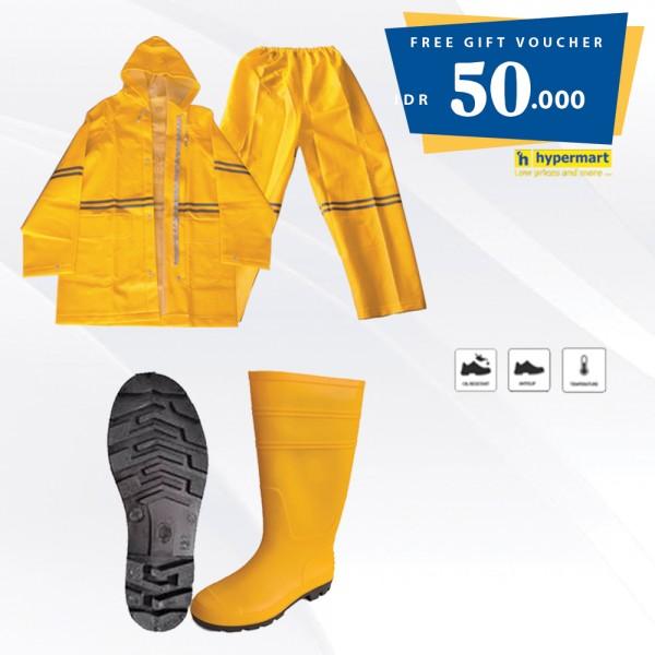 Paket - Sungkai Boot Safety Shoes + Rain Coat Free Voucher Hypermart